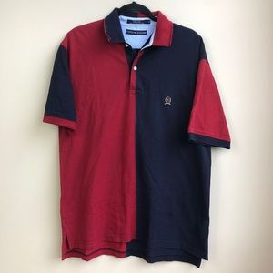 VTG Tommy Hilfiger Polo Sz L Blue Red Color Block
